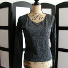 Newport News Style Works black shiny long sleeve scoop neck top medium