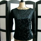 Karen Kane Petites black burned out velour 3/4 sleeve top size petite