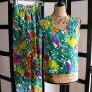 Rafferty green aqua purple leaf tank top and pants set small 9
