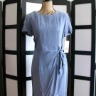 KC Spencer cornflower blue purple rayon side tie short sleeve dress size 10