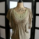 Ambiance brown ruched empire swirl neck flutter sleeves top XS