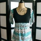 Discreet black aqua white empire waist babydoll short sleeve top medium