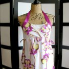 Girl Talk white purple yellow floral empire babydolll sleeveless top small