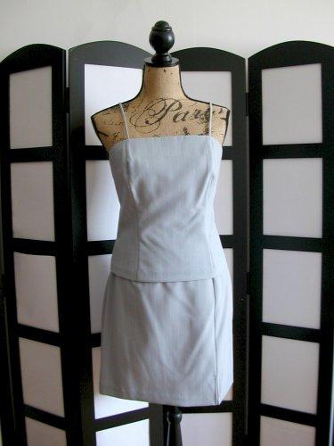 Pinstripe light blue spaghetti strap cami top and mini skirt set size 3/4