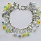 Peace Sign Yellow White Iridescent Flower Crystal Bead Charm Bracelet