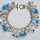 Peace Sign Blue White AB Iridescent Flower Crystal Bicone Charm Bracelet