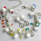 Peace Sign White Bead Rainbow Crystal Charm Bracelet Earrings Set