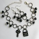 Lock and Key Black Rhinestone Charm Crystal Bead Bracelet
