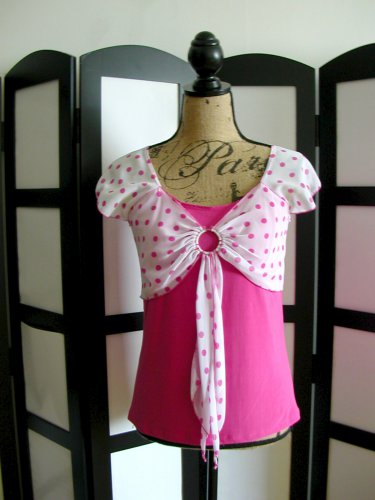 Essential USA pink white polka dot empire top XL junior