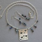 Love Heart Silver Pendant AB Crystal Bicone Bead Necklace & Earrings