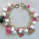 Lucky Charm Dice Clover Horseshoe Pink White Bead Bracelet