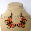 Orange Butterfly Plastic Canvas Earrings Monarch