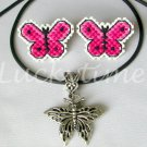 Pink Fuchsia Butterfly Plastic Canvas Earrings