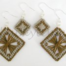Brown Taupe Competed Plastic Canvas Square Earrings