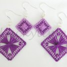 Purple Plastic Canvas Square String Art Earrings