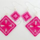 Pink Fuchsia Completed Plastic Canvas String Art Earrings