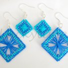Blue Aqua Plastic Canvas String Art Square Earrings