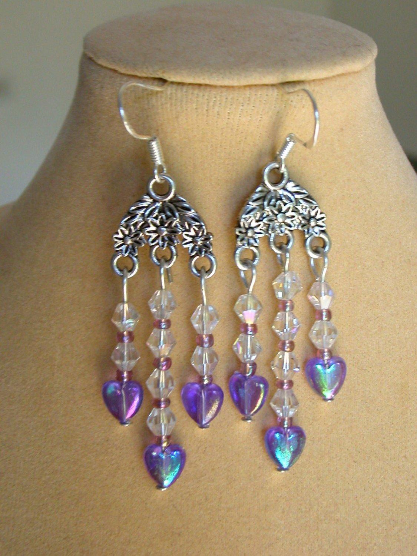 Purple Heart Clear Crystal Bead Chandelier Earrings