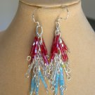 Luster Glass Hex Bugle Bead Red White Blue Patriotic Dangle Earrings