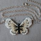 Cabbage White Butterfly Plastic Canvas Pendant Silver Chain Necklace
