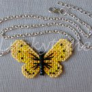 Yellow Sulphur Butterfly Plastic Canvas Pendant Silver Chain Necklace