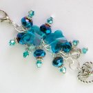 Angel Heart Zipper Purse Charm Aqua Butterfly Peacock Blue Crystal Bead