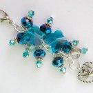 Angel Heart Zipper Purse Charm Aqua Butterfly Peacock Blue Crystal Bead