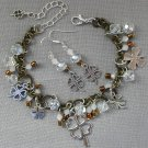 Four Leaf Clover Brown Brass White Crystal Bead Charm Bracelet