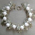 Snowflake Star Crystal Silver White Bead Charm Bracelet