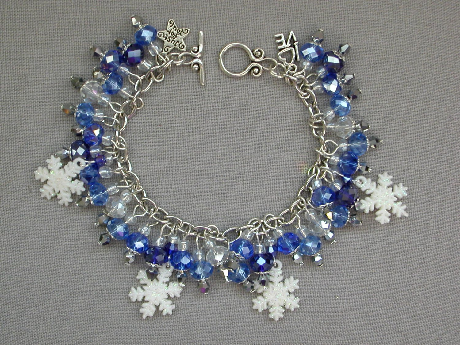 White Snowflake Cobalt and Baby Blue Crystal Bead Charm Bracelet
