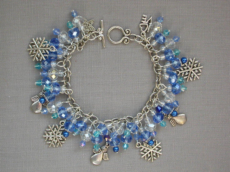 Snowflake and Angel Charm Baby Blue Crystal Bead Bracelet