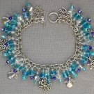 Snowflake and Angel Aqua Crystal Bead Charm Bracelet