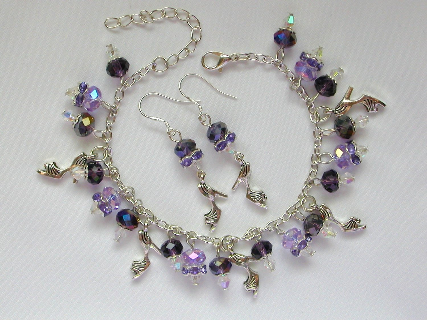 High Heel Shoe Charm Purple Crystal Bead Earrings Set