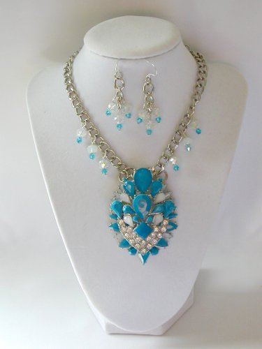 Aqua Blue tiered rhinestone chunky statement necklace pendant earrings set
