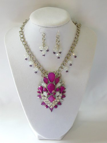 Purple tiered rhinestone chunky statement necklace pendant earrings set