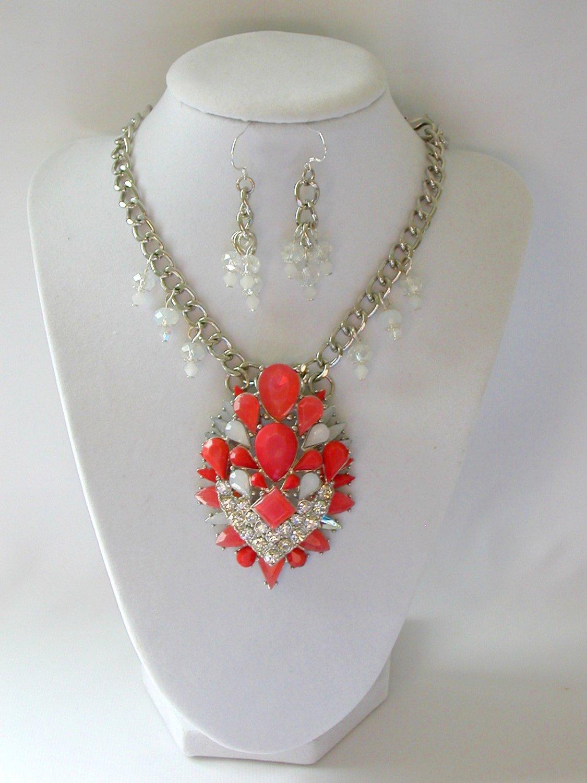 Orange tiered rhinestone chunky statement necklace pendant earrings set