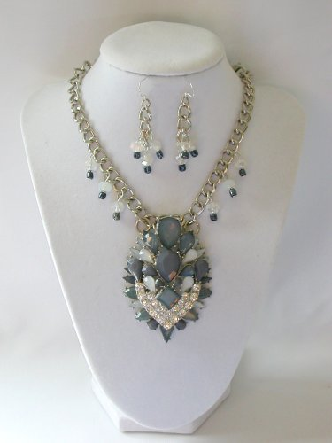 Grey tiered rhinestone chunky statement necklace pendant earrings set