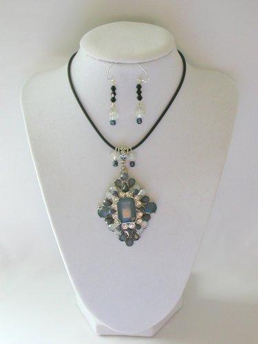 Grey rhinestone statement pedant necklace earrings set