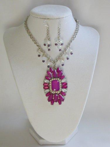 Purple marquis rhinestone statement necklace earrings set
