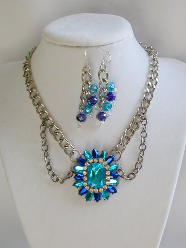 Aqua Blue rhinestone swag chain statement necklace and earrings set