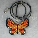 Monarch Orange Butterfly Plastic Canvas Pendant Necklace