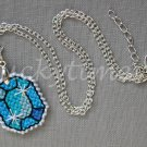 Aqua Gem Gemstone Plastic Canvas Pendant Necklace