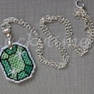 Seafoam Green Gem Gemstone Plastic Canvas Pendant Necklace