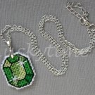 Green Gem Gemstone Plastic Canvas Pendant Necklace