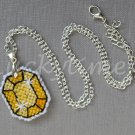 Yellow Gem Gemstone Plastic Canvas Pendant Necklace