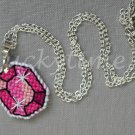 Pink Gem Gemstone Plastic Canvas Pendant Necklace