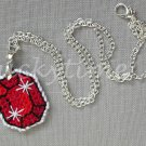 Red Gem Gemstone Plastic Canvas Pendant Necklace