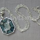 Grey Blue Gem Gemstone Plastic Canvas Pendant Necklace