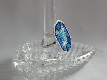 Blue Gem Gemstone Plastic Canvas Ring