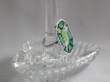 Seafoam Green Gem Gemstone Plastic Canvas Ring